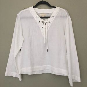 NWOT Cloth & Stone Gauze Bell Slvs Lace Up Top XS